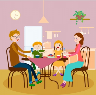 dinner background colored cartoon decor family members icon