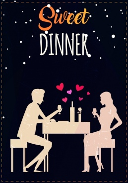 dinner background romantic couple icon decoration