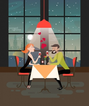 dinner dating background romantic couple icon cartoon design