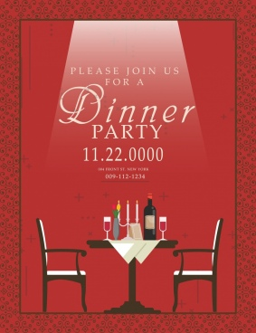 dinner party invitation card red design table decoration