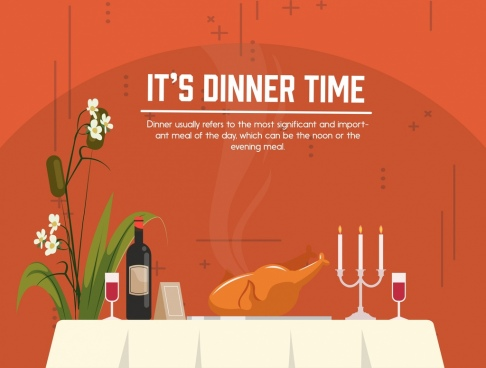 dinner poster dinning table decoration food beverage icons
