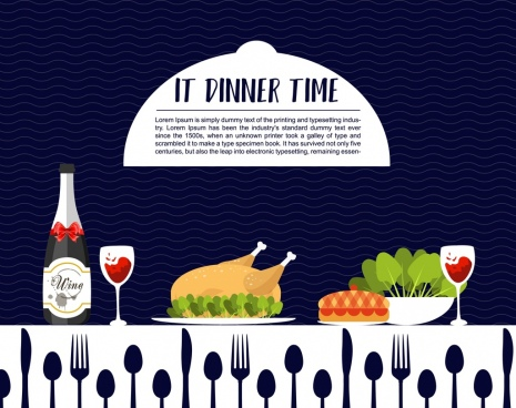 dinner poster meal decoration dishware icons