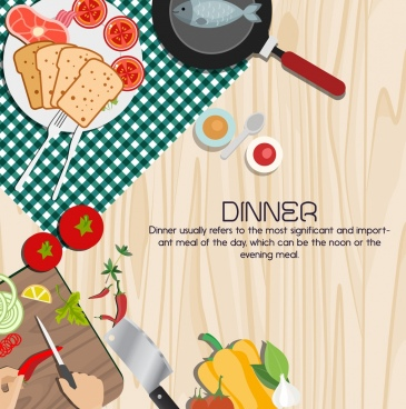 dinner poster meal preparation icons multicolored design