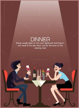 dinner poster romantic couple icon light decor