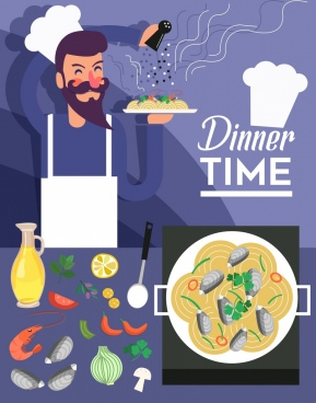 dinner time banner cook seafood icons decor