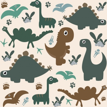 dinosaur background flat icons colored cartoon design