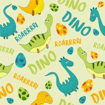dinosaur background multicolored repeating icons