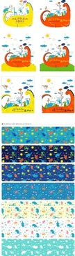 dinosaurs pattern background templates collection colorful flat design