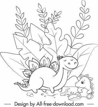 dinosaur drawing cute black white handdrawn cartoon sketch