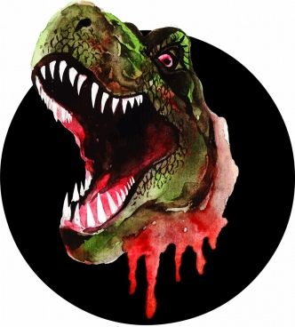 dinosaur drawing scary icon multicolored 3d design
