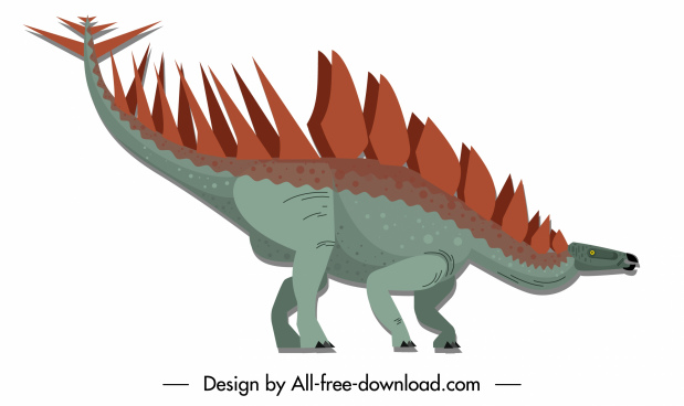dinosaur icon stegosaurus species sketch cartoon character sketch