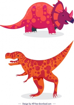 dinosaur icons colored cartoon character sketch