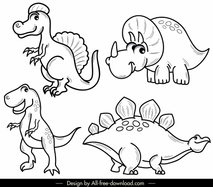 dinosaur icons cute cartoon sketch black white handdrawn
