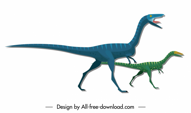 dinosaur icons gallimimus species sketch cartoon characters design