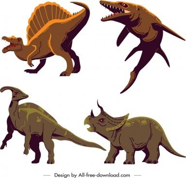 dinosaur icons parasaurolophus mosasaurus triceraptor suchominus sketch