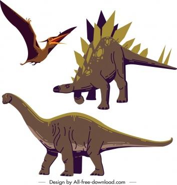 dinosaur icons stegosaurus pteranodon apatosaurus sketch