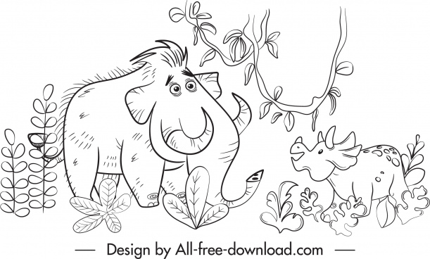 dinosaur painting cute black white cartoon handdrawn sketch