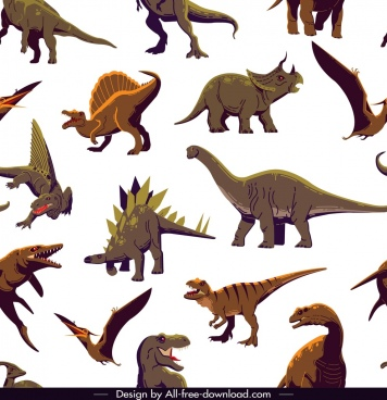 dinosaur pattern colored cartoon characters sketch