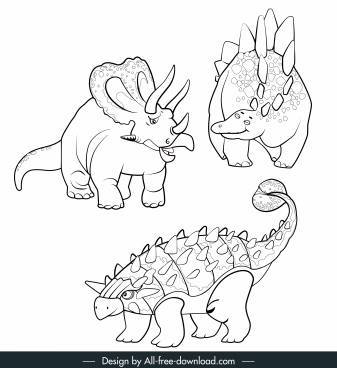 dinosaur species icons black white handdrawn cartoon sketch