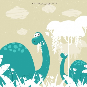 dinosaurs background green design white trees sketch