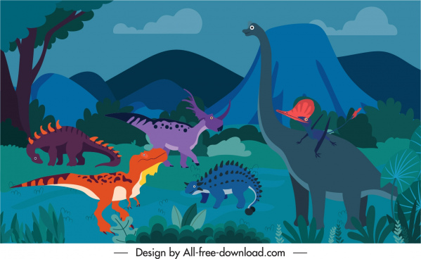 dinosaurs background template cartoon sketch colorful classic design