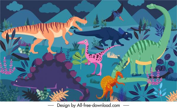 dinosaurs background template colorful dark cartoon sketch