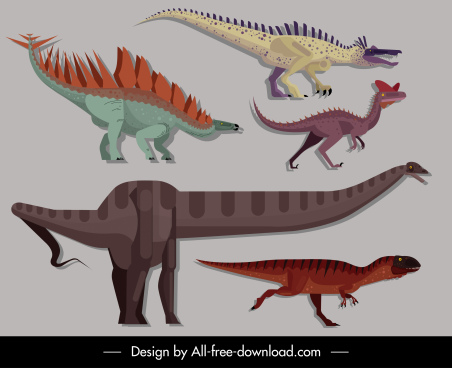 dinosaurs creatures icons colorful classic design cartoon sketch