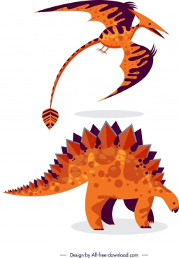 dinosaurs icons classical orange design