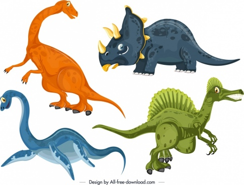dinosaurs icons colored cartoon character design