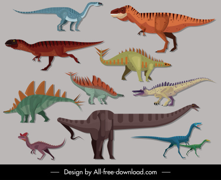 dinosaurs species icons colored cartoon sketch