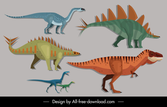 dinosaurs species icons colorful classic sketch
