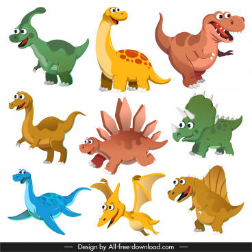 dinosaurs species icons cute cartoon characters sketch