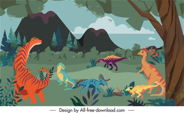 dinosaurs wildlife background cartoon sketch