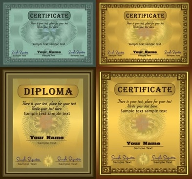 certificates templates elegant luxury shiny retro design