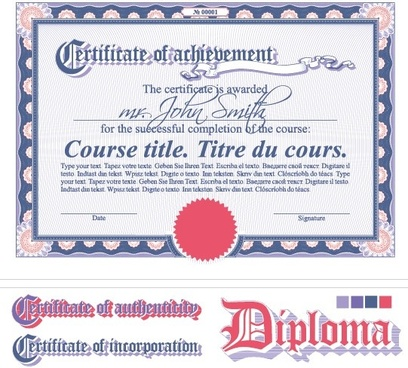 diploma certificate design elements vector set