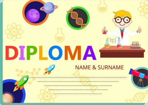 diploma template colorful decoration kids education icons