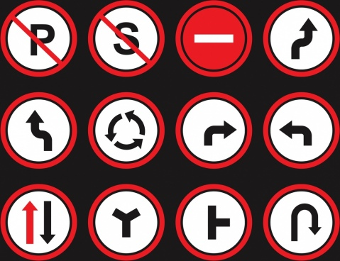 direction sign collection flat circle isolation