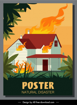 disaster poster house fire sketch colorful dynamic design
