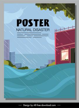 disaster poster tsunami rain sketch cartoon design