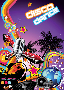 disco party flyer cover design vector