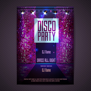 disco party neon poster vector