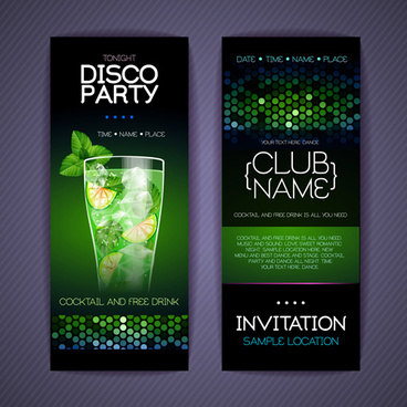disco party night invitation cards vector