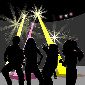 disco silhouettes of men and women vector