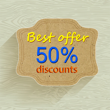 discount banner with grey tray on wooden pattern