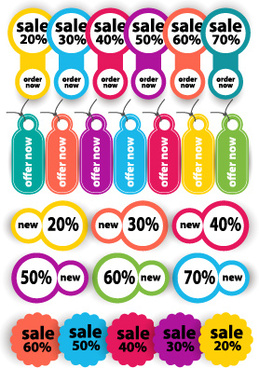 discount colored tags and labels vectors