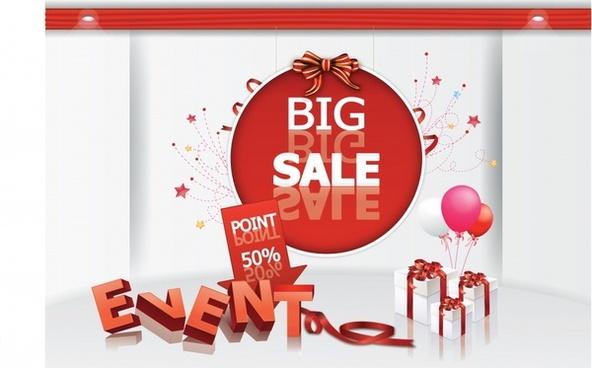 xmas sale banner elegant shiny modern 3d decor