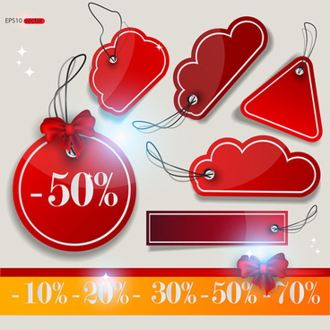 discount red tags creative vector