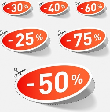 sale tags templates modern paper cut design