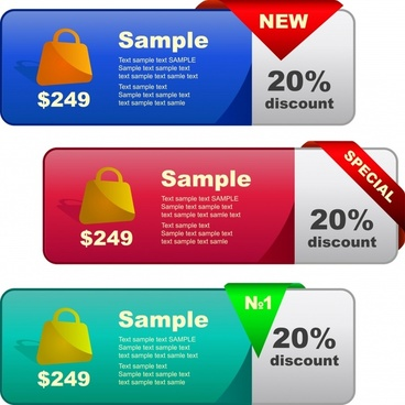 sale tags template modern colored horizontal design