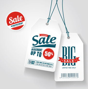 discounts sale white tags vector